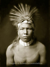 Large Reprint Vintage Native American Indian Cree Warrior PHOTOGRAPH BLACK HAIR