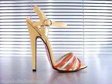 MORI ITALY SANDALS HIGH HEELS SANDALETTE SANDALI SCHUHE LEATHER BEIGE ORANGE 45