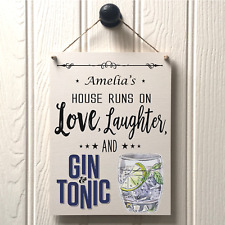 PERSONALISED GIN AND TONIC WALL SIGN - handmade new home best friend sign 244
