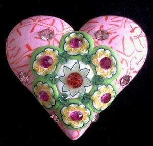 Billie Beads Millefiori Style Clay & Crystal HEART Pin/Pendant~Valentines Day