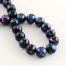50 Stück Glasperlen 10mm Blau Lackiert Perlen Glas Beads Glänzend - 3260
