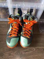 Nike Air Max LEBRON IX 9 CANNON VOLT GREEN SLATE BLUE ORANGE 469764-004 Sz 9.5