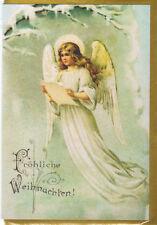 nostalgische Klappkarte: singender Engel, Weihnachtsgruß - singing angel