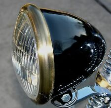 Black Powder Coated Bullet Headlight , with Antique Brass Plated Ring. Bobber