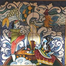 40x40 Pannello Decorato A Mano Stile Moderno. Ceramica VIETRESE Naïf Marino