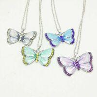 eFrauen Kristall Schmetterling Anhänger Pullover Kette Charm Kette Super