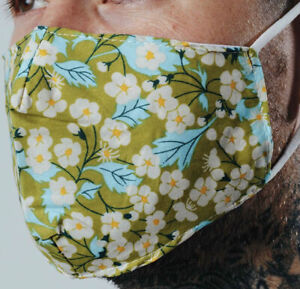 Clearance Hype Green Daisy Floral Adult Face Mask - Fashion Mask - Face Covering