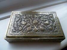 vintage hand made Persian engraved birds metal trinket hinged box heavy