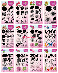 Studio Light A5 Layered Flower Clear Stamp Sets - Rose - Peony - Sunflower - NEW