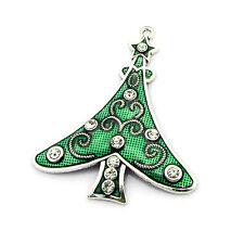 Big Silver Plated Green Christmas Tree Pendant Charm W/Clear Rhinestone Crystals