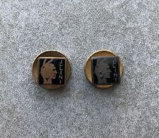 A Pair Of Vintage Enamel Indian Illini Buttons