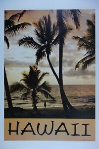Vintage Original Poster 1968 Hawaii Palm Tree #807 Travel Beach Sunset Looart