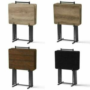 5-Piece Folding Tray Table Set with Stand, and 4 Color Choices