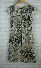 Cue in the city dress exposed zip purple yellow Paisley type print size 10
