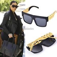 Free Ship High Fashion Metal Chain Arm Flat Top Aviator Sunglasses Black Gold EF