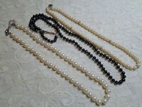 VINTAGE TO NOW ASSORTED GLASS FAUX PEARL BEADED NECKLACE LOT NAPIER