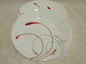 4 Corelle Splendor 6 3/4 Inch Bread Dessert Plates Red Gray EUC