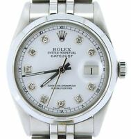 Mens Rolex Datejust Stainless Steel Watch Jubilee Style Band White Diamond Dial