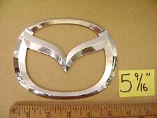 "MAZDA oval chrome plastic emblem 5 9/16"" wide 6 2 1 7 3 4 9 used"