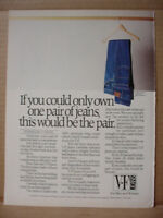1985 V-F Jeans Denim Pants if you only own One?  Vintage Print Ad 172