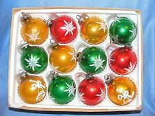 Old Vintage Selection Glass Christmas Tree Decoration Ornament Baubles Red Rreen