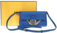 NEW FENDI FF NEON BLUE LAMBSKIN MICRO BAGUETTE CHAIN SHOULDER CROSSBODY BAG