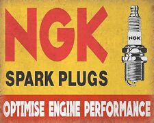 10 x 8 NGK SPARK PLUGS CAR BIKE MOTORCYCLE GARAGE WORKSHOP METAL PLAQUE SIGN 355