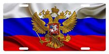RUSSIA  Flag Custom License Plate Russian Emblem Coat Of Arms Wave Version