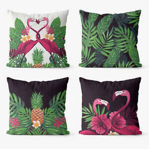 Abstract Leaf Nature 4 Pieces Two Sides Printed Throw Pillow Case Cover