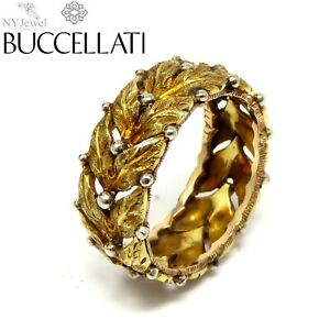 NYJEWEL Buccellati 18k Gold Leaf Motif Band Ring