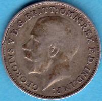 Großbritannien 1917 George V.- Three pence  Silver Münze