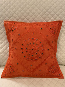 """New 1pc Orange Sequins Decorative Throw Pillow 16""""x 16"""" Couch Pillow (Complete)"""