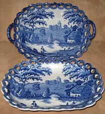 C.1825-1840 Historic Blue Wild Rose Staffordshire Reticulated Basket & Undertray