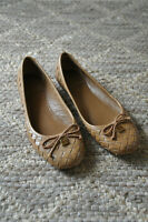 Tory Burch Prescot Almond Beige Patent Leather Braided Ballerina Flats Women 8M