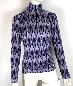 Smartwool Womens 1/4 Zip Pullover Baselayer Diamond Print Merino Wool size M