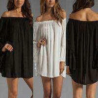 Damen Chiffon Carmen Schulterfrei Shirt Mini Tops Bluse Hemdkleid Abendkleid