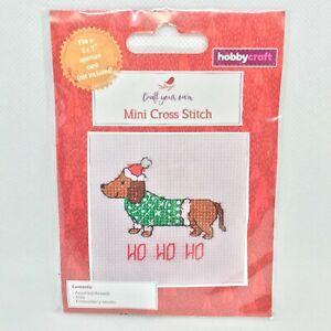 "Hobbycraft Mini Christmas Cross Stitch Kit Sausage Dog Fits 3x3"" Aperture Card"