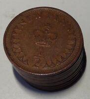 Ten UK Decimal Half Penny Coins 1971-1980 from Circulation