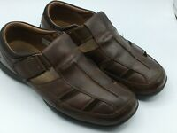 Skechers Genuine Sockless Men's Brown Leather Athletic Sandals Size 10 M