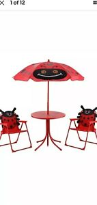 Kids Outdoor Patio Set Table And 2 Folding Chairs w/ Umbrella LadyBug style