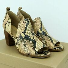 Lucky Brand JUNAI Heeled Leather Shooties Booties Size 9.5 Snakeskin Print NEW