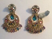 CACHE Evening Earrings Dangling Multi Color Stone Embellished Hoop Earnings  New