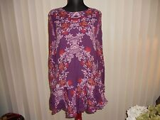 NWT FREE PEOPLE SMOOTH TALKER TUNIC/MINI  DRESS IN PLUMBERRY COMBO SIZE SMALL