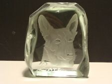 Large Signed Dated 72 RM Yates Art Glass Studio Etched Block Larz Seeing Eye Dog