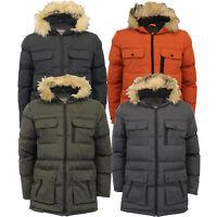 Mens Parka Jacket Brave Soul Coat Hoodie Faux Fur Padded EVEREST Warm Winter New