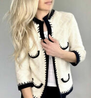 CAbi Socialite Cream Cardigan Sweater Style #297 Open Front Chunky Knit Size M