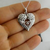 Angel Wings Heart with Celtic Trinity Knot Necklace - 925 Sterling Silver NEW
