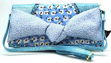 NEW IRREGULAR CHOICE *SMARTIE PANTS* BLUE(M)FLORAL/METALLIC CLUTCH/MESSENGER BAG