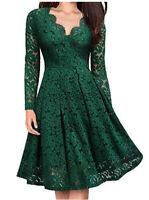 Women's V-Neck Dress Lace Evening Long Sleeve Party Knee Length Elegant Dress