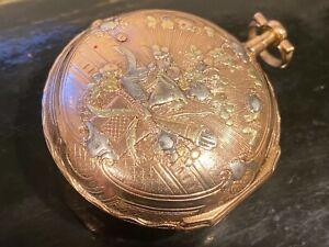 16-18k Gold Fusse Pocket Watch 1700s  46mm